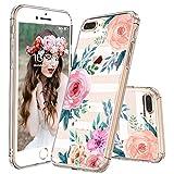 MOSNOVO iPhone 8 Plus Hülle, iPhone 7 Plus Hülle, Streifen Blumen Muster TPU Bumper mit Hart Plastik Hülle Durchsichtig Schutzhülle Transparent für iPhone 7 Plus/iPhone 8 Plus (Stripe Floral)