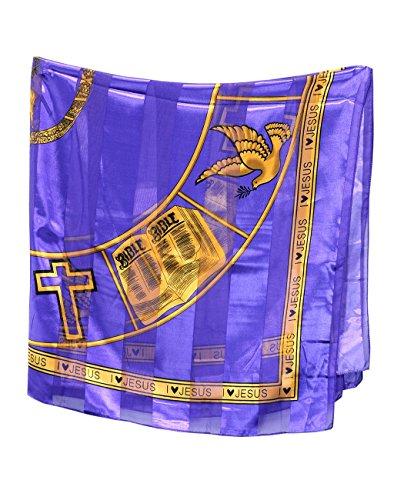 Foulard versatile carré satiné de 106,7 cm - I Love Jesus. Produit offert par NYfashion101. Mauve