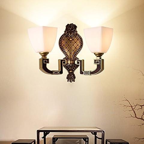 Shining uso generale Nuovo cinese da parete luci da parete panca e una parete retrò, in lega di zinco luci soggiorno Antique camera letto Dual Head