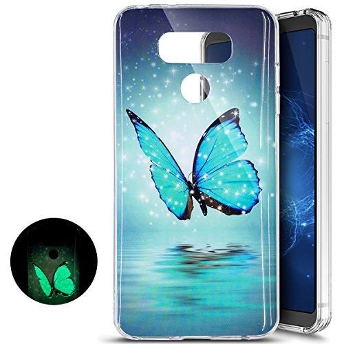 Ukayfe custodia cover lg g6 silicone morbida, [notte luminosa effetto] custodia case crystal soft gomma gel tpu luminoso nottilucenti con colorato dipinta motivo per lg g6 bumper casa-farfalla
