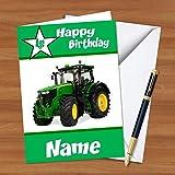BC17grün Traktor Personalisierte Geburtstags Grußkarte A5mit Umschlag–auf Hochglanz-Karte