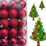 (WKG01) Weihnachtskugeln Christbaumkugeln Baumschmuck Weihnachtsbaumschmuck Deko 36er (Rot)