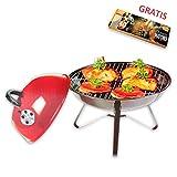 Elegante portátil Mini Barbacoa barbacoa de carbón de estilo BBQ Diámetro 36cm rojo + 1paquete XL de cerillas