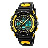 Hiwatch Relojes Deportivos Impermeable para los Niños Reloj de Pulsera Digital a Prueba de Agua Color Amarillo