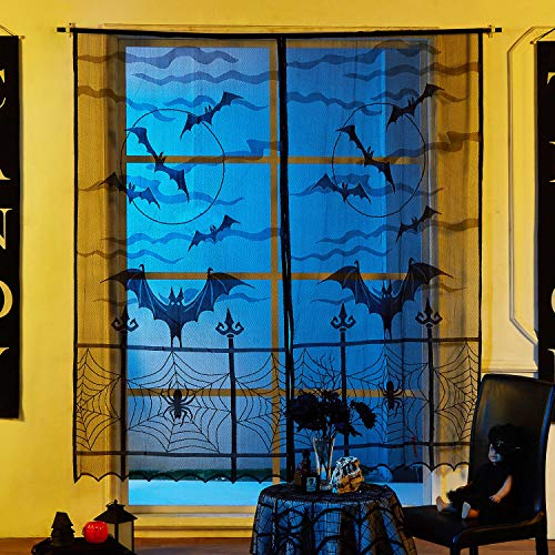 MACTING 2 Halloween Fledermäuse Lace Fenster Vorhang Set, schwarz Spider Web Fledermäuse Tür Vorhang Panel Decor Halloween Party Tür Fenster Dekoration, 40 213,4 cm