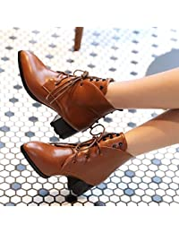 &ZHOU Botas otoño y del invierno botas cortas mujeres adultas 'Martin botas botas Knight a4-0 , yellow , 46