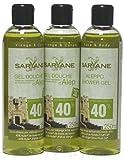 SARYANE Aleppo Oliven- und Lorbeeröl Duschgel, 3 x 250ml mit Dosieröffnung - parfümfrei, trockene, reife & empfindliche Haut