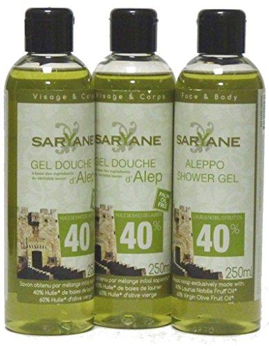Saryane: Aleppo Oliven- und Lorbeeröl Duschgel, 3 x 250ml mit Dosieröffnung - parfümfrei, trockene, reife & empfindliche Haut
