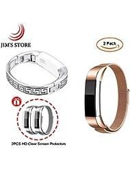 Für Fitbit Alta, JIM'S STORE Packung von 2 Edelstahl Milanese Magnet Ersatz Strap & Metall griechischen Schlüssel Schmuck Armreif + 2 Display Schutzfolien