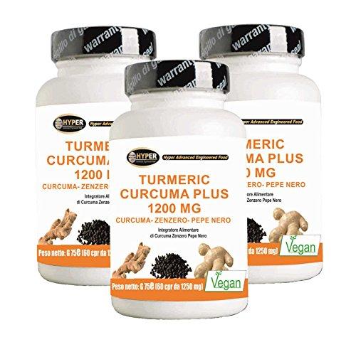 Turmeric Curcuma Curcumin 1000mg + Ingwer + Piperin - Fat Burner   Kapsel hohe Dosis   Trocken Curcumaextrakt bis 95% titriert und schwarzer Pfeffer auf 95% titriert   Curcumin - hohe Bioverfügbarkeit   180 Tabletten