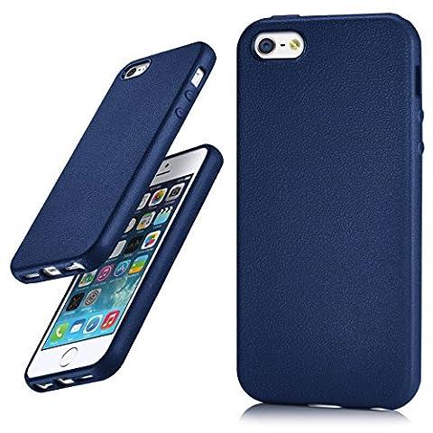 iPhone 5S Hülle Silikon Dunkel-Blau in Leder Optik [OneFlow Flex Back-Cover] Schutzhülle Etui Handy-Hülle für iPhone 5/5S/SE Case Ultra-Slim Silikonhülle Tasche