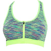 Women's Zip Front Padded Sports Bra Shockproof Racer Back Bra for Gym, Yoga, Running, and Fitness (Fluorescent green, M)