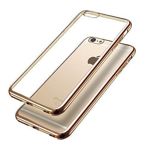 UKDANDANWEI iPhone 6 Plus/6s Plus Etui - Transparent Souple TPU Protection Bumper Housse Silicone Gel Ultra Mince Case pour iPhone 6 Plus/6s Plus Noir Or