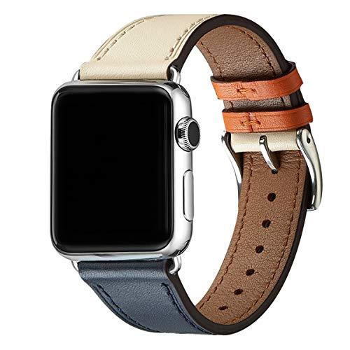 WFEAGL Kompatibel für Apple Watch Armband 42mm 44mm,Top Grain Ersatzband mit Edelstahl-Verschluss Kompatibel für Serie 4/3/2/1,Sport, Edition (42mm 44mm, Elfenbein+Dunkelblau+Silbel Adapter) -