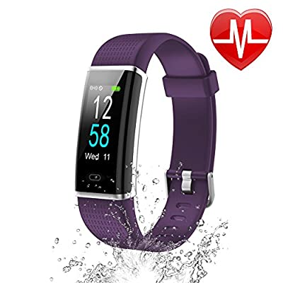 Letsfit Fitness Tracker HR, IP68 Waterproof Color Screen Activity Tracker With Heart Rate Monitor, Step Counter, Sleep Monitor, Pedometer Watch, Smart Band for Kids Women Men by Letsfit