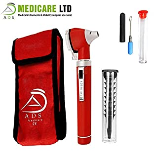 Red MINI OTOSCOPE FIBER OPTIC DIAGNOSTIC EXAMINATION SET CE APPROVED with Complimentary Ear Cleaner
