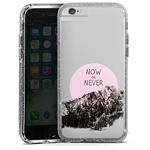 Apple iPhone 8 Bumper Hülle Bumper Case Glitzer Hülle Statement Muster Pattern Bumper Case Glitzer silber
