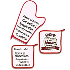 Idea Regalo - Set da cucina: guanto da forno e 2 presine Ristorante A casa della Nonna: pollo e patate, biscotti caldi e tante coccole! Idea regalo divertente, decorazione da cucina!