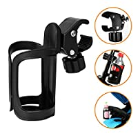 AOBETAK Bike Bottle Holder, Black Bicycle Cup Holder 360 Degrees Rotation Cycling Water Bottle Cages; fit Bicycles, Mountain Bikes, Prams and Wheelchair
