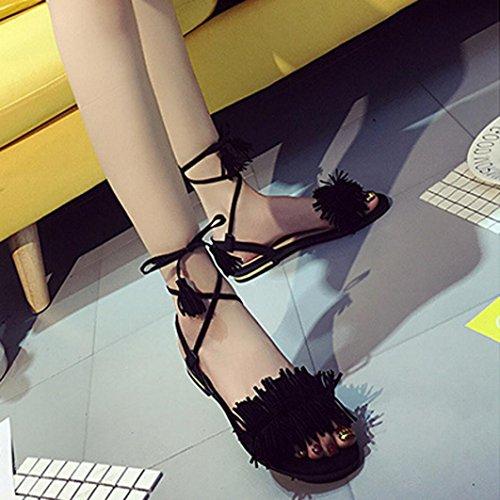 Sandali Koly Sandali da donna Scarpe casuali Lace-Up casuali del nuovo tallone caldo dell'ufficio di estate di modo Black