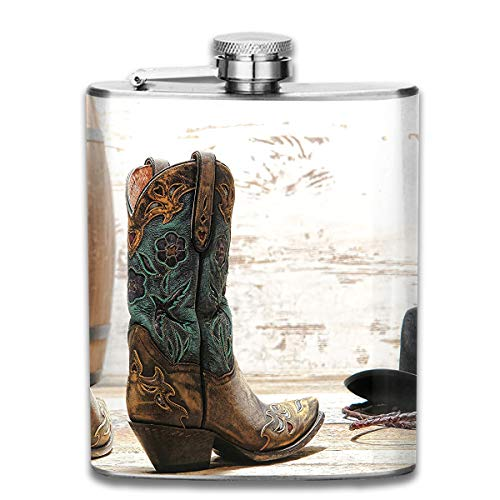 Werert Stainless Steel Flasks 7 Oz American Rodeo Theme Cowgirl Design Leather Boots Fancy Hat Rustic Picture Whiskey Flask Hip Flask Leak Proof Wine Men Women -