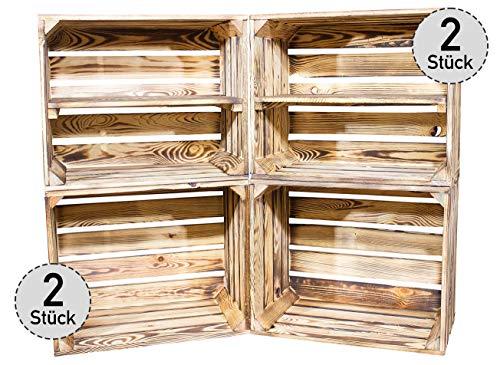 Vinterior DIY Set (4 Kisten) Gemischtes Paket Flambierte Holzkisten-Weinkisten/Regal aus geflammten Obstkisten mit...