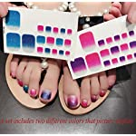 QCBC Full Nail Toes Stickers,Gradient color Style 20 Decals/sheet (Pack of 2 Sheets) 10