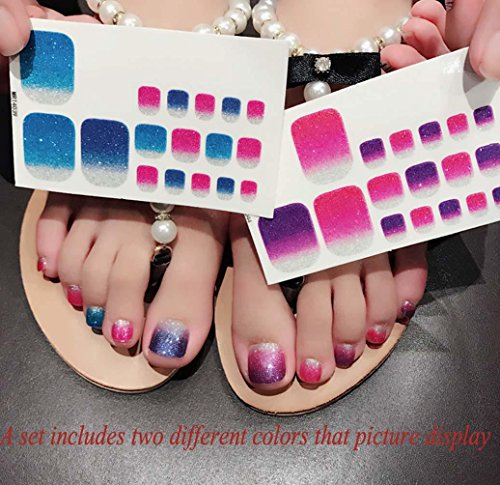 QCBC Full Nail Toes Stickers,Gradient color Style 20 Decals/sheet (Pack of 2 Sheets) 4