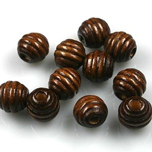 Sadingo Holzperlen, Holzkugeln - 55 Stück - 12 mm - Dunkelbraun - Rillenmuster (Braune Holzperlen)
