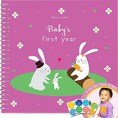 memory-book-stickers-unconditional-rosie-baby-girls-first-year-record-book-with-12-milestone-sticker