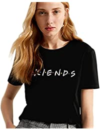 Camiseta Mejor Amiga Shirt Best Friend Logo para Mujer 100% Algodón T-Shirt TV Impresión Fiends Blanco Básico Manga Corta Redondo Verano Elegante Regalo