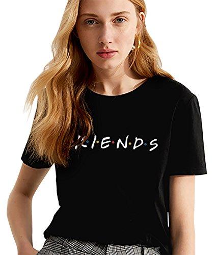 Friends Shirt Damen Shirts Sommer Süß Partnerlook Freund Shirt Frauen Oberteile Tops T-Shirt mit Aufdruck Buchstaben Kurzarmshirt Sport Mädchen Outdoor Freizeitkleidung 1Pcs(Schwarz-Friends-M) -