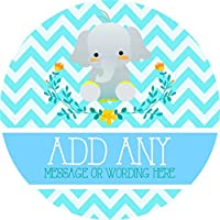 Baptism Boy Chevron Elephant Sticker Labels (24 Stickers, 4.5cm Each) Personalised Seals Ideal for Party Bags, Sweet Cones, Favours, Jars, Presentations Gift Boxes, Bottles, Crafts
