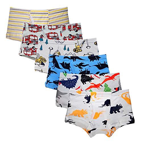 Kidear Serie Für Kinder Weiche Baumwollene Unterwäsche Sortierte Boxershorts Kleiner Jungen (Packung mit 6 Stücken) (Stil4, 3-4 Jahre)