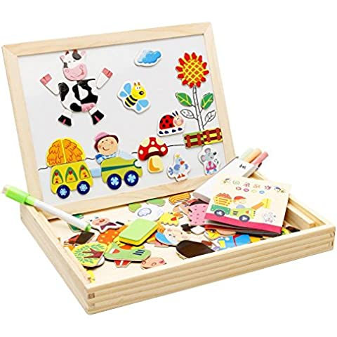 Lewo casa doble cara caballete magnético rompecabezas tablero de dibujo juegos juego de escritura para niños niñas