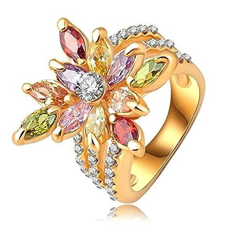 Femme Fille 18K Plaqué Or Bague Engagement Mariage Anneau CZ Cristal Zircon Cubique Fleur Taille 59 Or - Aooaz