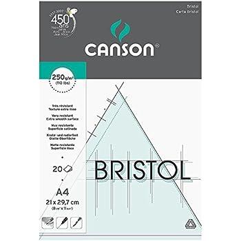 Canson Arts graphiques Bristol Papier à dessin A4 21 x 29,7 cm 20 feuilles Extra Blanc