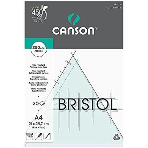 Canson Bristol 250gsm paper, high-white & ultra-smooth, A4 pad including 20 sheets