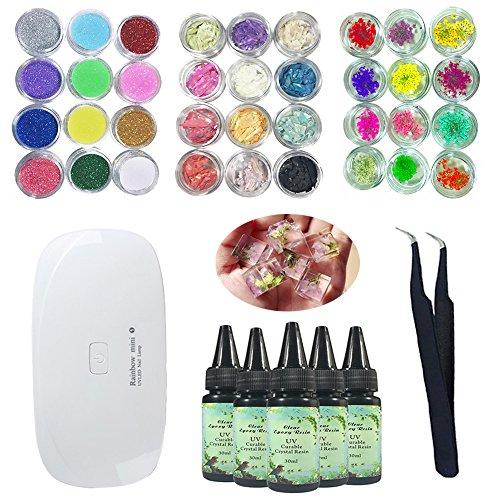 0ml Kristall Epoxy Harz UV-Kleber, 1 Stück Mini UV LED Lampe, 1 Stück Pinzette 3 Kit Set Blume Shell Stück Glitter Pulver für Schmuck Ohrringe Halskette Armband Nail Art Zubehör ()