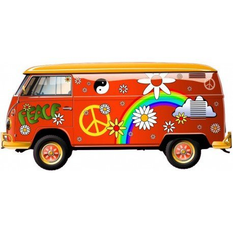 Van Hippie Peace and Love selbstklebend Wandtattoo Sticker