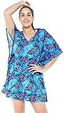 LA LEELA Robe de Plage Femme Ete Bohême 3D HD Tuniques Casual Blouse Bikini Cover Up Dentelle Paréo Couverture Maillots de Bain Swimsuit Beachwear Mini Dress Bleu_G276