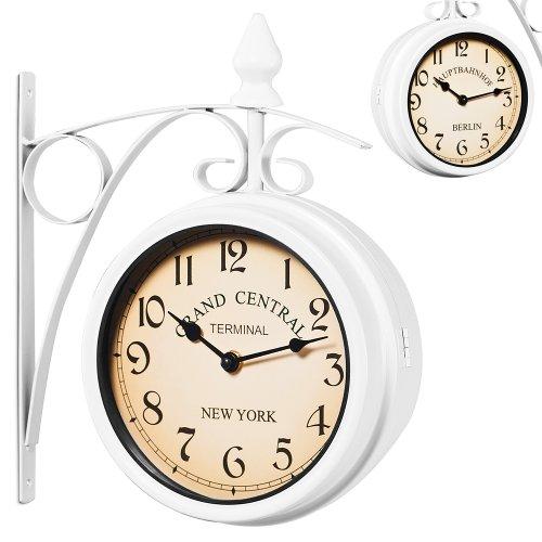 Zweiseitige Bahnhofsuhr - Wanduhr Uhr Retro Antik Stil Quarz - weiß