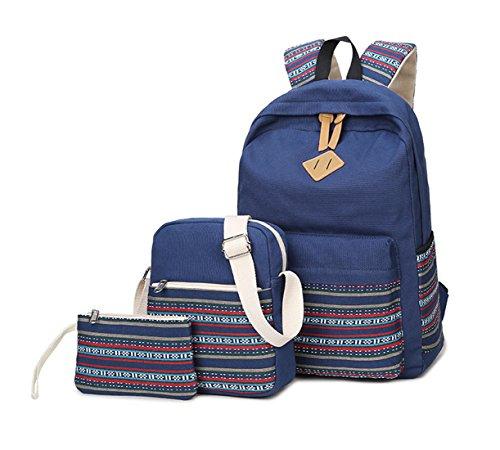 9d41721ac0a07 Keshi Leinwand Niedlich Schulrucksäcke Rucksack Damen Mädchen Vintage  Schule Rucksäcke mit Moderner Streifen für Teens Jungen Studenten Tiefblau