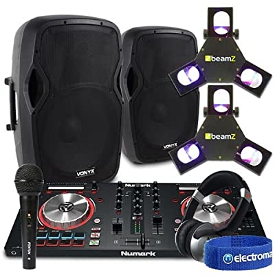"15"" Active Speakers Numark Mixer Beamz Lights DJ Setup Disco Party Package 1600W"
