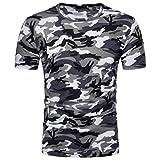 MRULIC Herren Sweatshirt Langarmshirt Sweatjacke Pullover Prints Camouflage Pulli T-Shirt Top Bluse (L, Grau)
