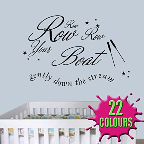 Row Row Row Your Boat - Wall Sticker Quote Decal Children Nursery Bedroom (Medium) by Wondrous Wall Art