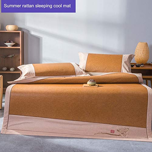 JYY Sommer schlafen Rattan mat kühlung matratze obermatte Glatte klimatisierte Matte, Stickerei Rand (königin/könig) (Kühlung Matratze Königin)