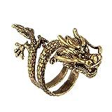 Beauty7 Bague Anneau Chevaliere Ouvert Spirale Alliage Bronze Bijoux Dragon Chinois Femme Homme Reglable Taille 51.5 - 56.5