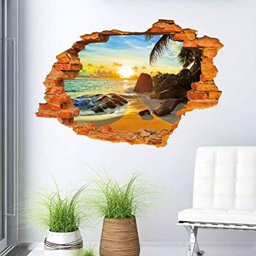 QHGstore 3D Strand Sonnenschein stereoskopischer Wand Aufkleber im Loch der Mauer