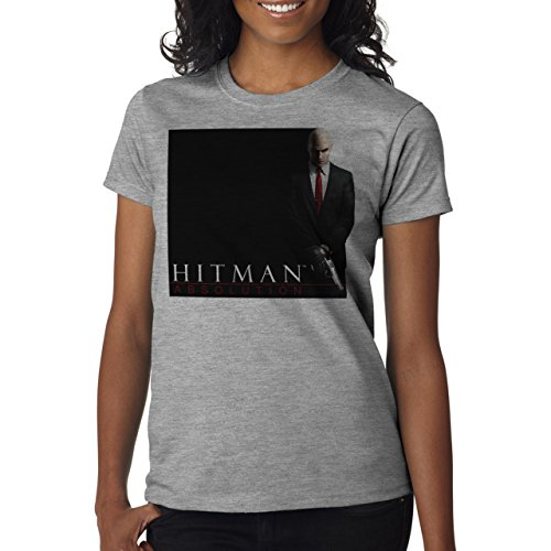 Hitman Absolution Art Agent 47 Killer Black And White Two Sides In A Rght Background Damen T-Shirt Grau